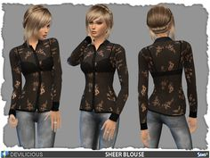The Sims Resource: Black Sheer Blouse by Devilicious • Sims 4 Downloads