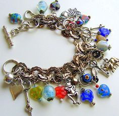 Hearts Charm Bracelet Upcycled Vintage Jewelry by retrogroovie,