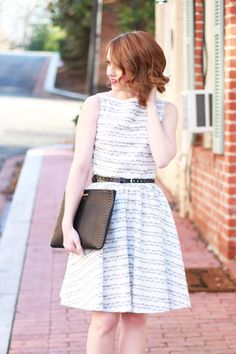 Poor Little It Girl - Paint The Town Symphony Music Note Dress, Gap Black Leather Belt, Lulu*'s Patent Black Ankle Strap Wedges and Gigi New York Monogram Clutch - via @poorlilitgirl
