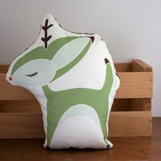 Plush Deer Pillow in Green by Gingiber @Etsy