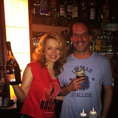 #RockyBroadway's Jennifer Mudge and Danny Mastrogiorgio tending bar and earning tips for @BCEFA at Sunday's Broadway Bartenders event!
