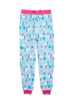 Jellifish Kids Knit Sleep Pants Girls 4-16 - Aqua Unicorn - Xl