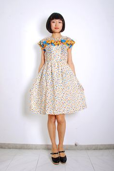 Vtg 80s Yellow Spring Liberty Dress by mimevintage on Etsy, $65.00