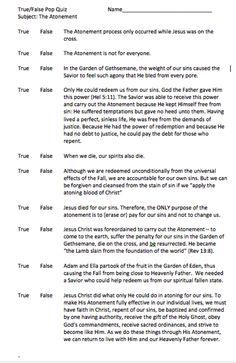 Atonement True False Pop Quiz Sunday School Youth Lesson March Come Follow Me Ages 12-18
