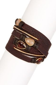 Triple Brown Leather Wrap Bracelet