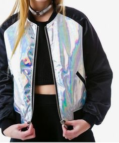 Holographic Jacket, Holographic Fashion, Mode Lolita, Vetement Fashion, Grunge Fashion, Look Cool, Fashion Outfits, Womens Fashion, Ideias Fashion