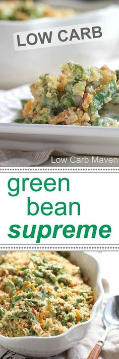 This decadent low carb green casserole is everything the other green bean casserole wishes it was. Keto Foods, Ketogenic Recipes, Low Carb Recipes, Cooking Recipes, Healthy Recipes, Paleo Diet, Keto Veggie Recipes, Pescatarian Recipes, Easy Cooking