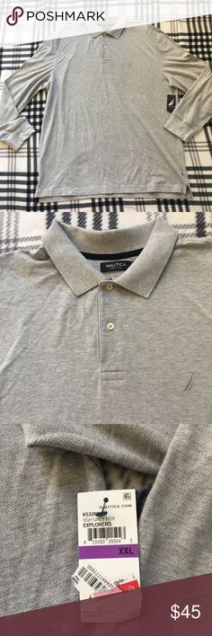 Nautica Grey Long Sleeve polo sz XXL Excellent condition  No tears or stains  From a pet and smoke free home Nautica Shirts Polos