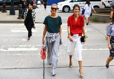 Street Style: New York Fashion Week Spring 2015 – Vogue -- Natalie Joos in Tommy Hilfiger and Leandra Medine in Rosie Assoulin -- Going To The Bazaar Earrings in ruby red would look awesome with that red shirt. #madscientistsdesigns #theartisangroup #etsy