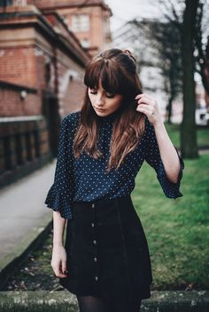 Women's fashion | Polka dots peplum sleeved blouse with button up skirt