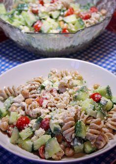 Greek Pasta Salad with Creamy Feta Dressing by joandsue.blogspot.com
