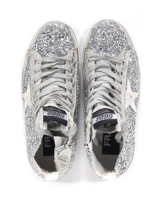 Golden goose deluxe brand Francy Glitter High-Top Sneakers in Silver | Lyst