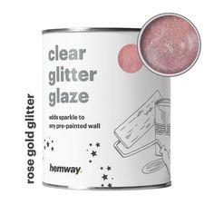 Hemway Clear Glitter Paint Glaze Rose Gold For Pre-Painted Walls Wallpaper Rose Gold Wall Paint, Gold Painted Walls, Gold Glitter Paint, Rose Gold Painting, Glitter Roses, Glitter Girl, Gold Walls, Glitter Walls, Glitter Cardstock