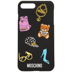 Moschino Women Printed Iphone 7 Plus Case ($71) ❤ liked on Polyvore featuring accessories, tech accessories, black and moschino
