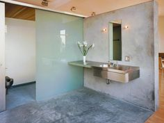 Concrete modern bathroom..yes!
