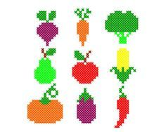 Tiny PDF cross stitch patterns - Set of 9 - Harvest - Vegetables - Fruit - Kitchen