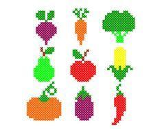 Tiny PDF cross stitch patterns - Set of 9 - Harvest - Vegetables - Fruit - Kitchen