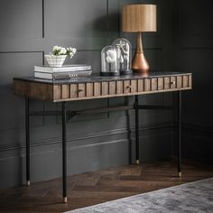 Our Berkeley Marble Console Desk ———————————- Made from acacia wood, powder coated black iron legs with brass detail and black marble top, ———————————- Brass Console Table, Narrow Console Table, Modern Console Tables, Unique Furniture, Contemporary Furniture, Table Furniture, Sideboard Decor, Marble Desk, Desk In Living Room