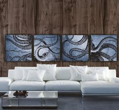 """Four Panel Octopus Set or Large One Panel Gallery Wrapped Canvas. 4 Panel Top Quality Canvas set shown measures a LARGE 42"""" x 42"""" x 1.5"""" depth when hung with 2"""" spacing between panels (Each panel is 2"""