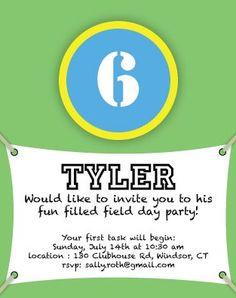 Field Day Birthday Invitation