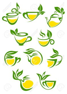 Tea Symbols by seamartini Set of stylised icons of green branch with leafs as cup with herbal or green tea with lemon for tea shop and cafe menu design FLA Green Tea Plant, Green Tea Cups, Tea Logo, Coffee Shop Logo, Spice Logo, Cafe Menu Design, Drinks Logo, Game Logo Design, Cafe Logo