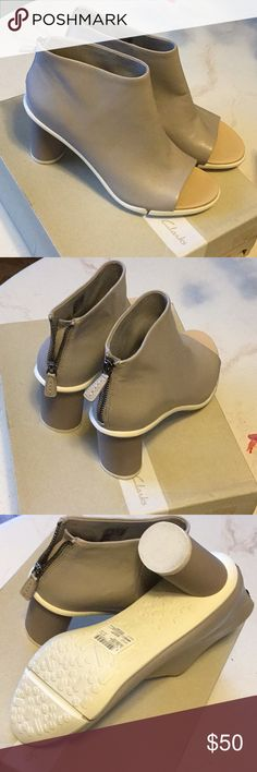 fc3a5ecc224d1e Shop Women s Clarks size Various Shoes at a discounted price at Poshmark.  Description  Open toe back zipper. New style rounded heel.