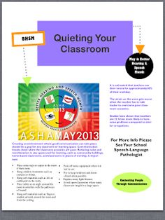 Let's Talk Speech & Language: Free flyer regarding classroom acoustics for Better Hearing & Speech Month