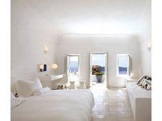 The Junior Suite at Grace Santorini. White Bedroom Design, Design Your Bedroom, White Bedroom Furniture, Bedroom Designs, Luxury Living, Google, Accent Colors, White Decor, Inexpensive Home Decor