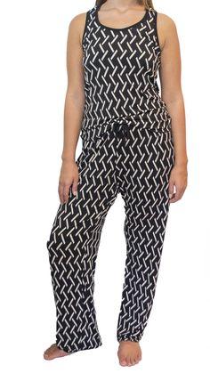 Black and Beige Pajama Pants Set