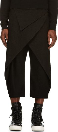 D.gnak By Kang.d: Black Folded Overlap Trousers