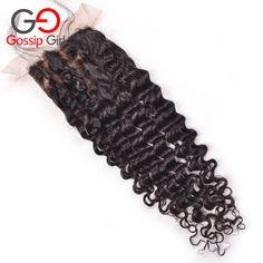 46.41$  Buy here - http://alif47.worldwells.pw/go.php?t=32585855563 - Brazilian Deep Wave Closure Brazilian Curly Silk Base Closure Cheap Human Hair Brazilian Closure Free Middle Part Silk Closure