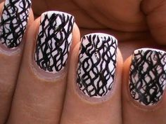 Black And White Nail Art designs-Waves of Nails Polish Cute Simple & Easy (Long & Short Nails)