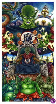 King Piccolo Saga Acuarela y tinta / Watercolor & Ink 36 x 69 cm 2014 Oe Ilustración