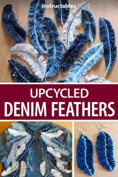 Diy Upcycled Art, Upcycled Furniture, Furniture Ideas, Recycled Denim Crafts, Recycled Decor, Fabric Crafts, Sewing Crafts, Sewing Projects, Diy Fashion Projects