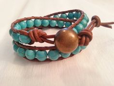 Items similar to Double wrap, brown leather, vintage cognac, turquoise magnesite 8 mm on Etsy Etsy Jewelry, Jewlery, Jewelry Necklaces, Leather Cord, Brown Leather, Hippie Chic, Ring Necklace, Handmade Art, Crystal Rhinestone
