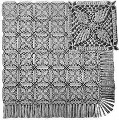 Popcorn Motif Bedspread Vintage Crochet Pattern for download
