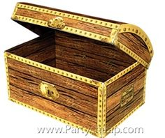 A treasure chest can be used as a centerpiece or a party favor for many types of themed parties. Fill it with some pirate booty to create the perfect centerpiece for your pirate party. We offer a variety of pirate party favors and gifts that you can use to fill your treasure chest. Popular items like plastic gold coins, plastic silver coins, or pirate loot always looks good spilling over the edge. Decoration Pirate, Pirate Party Decorations, Paper Decorations, Party Themes, Themed Parties, Party Ideas, Pirate Treasure Chest, Treasure Maps, Treasure Boxes