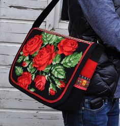 Red rose messengerbag by dutch-colours Blackwork Embroidery, Embroidery Patterns Free, Needlepoint Patterns, Cross Stitch Embroidery, Cross Stitch Rose, Cross Stitch Flowers, Bridesmaid Gift Bags, Diy Sac, Recycling