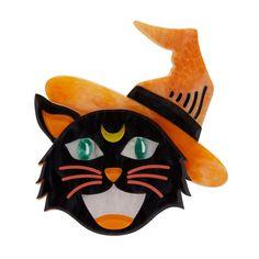 Hex Kitten Halloween Cat Brooch By Erstwilder - Work-toptrendpin. Belle Halloween, Halloween Cat, Spirit Halloween, Kittens, Cats, Resin Jewelry, Dainty Jewelry, Jewellery, Keepsake Boxes