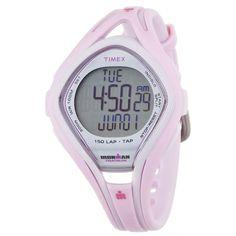 Timex T5K506 Women's Ironman TAP Sleek Triathlon Indiglo 150-Lap Pink Rubber Strap Chronograph Alarm Digital Watch