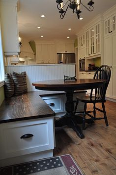 Isabel Beattie @ K Cabinets Oakville Save to Ideabook Email Photo Wood. A wood seat, while not as comfortable as an upholstered seat, is very easy to maintain and easy to slide along. This might be a great option if you have children. Loose seat cushions could also be added. When to use: When an inexpensive and durable seat is required.