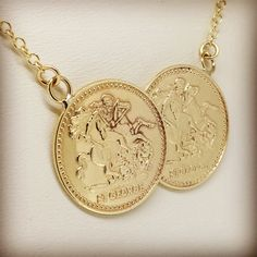 Solid 9ct gold St. George double coin style necklace. Also available in silver and solid 9ct rose gold.                                        www.robinsmoore.co.uk
