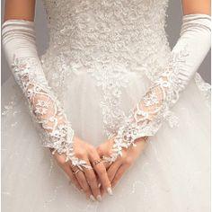 White Silk Lace Elbow Length Fingerless Wedding Bridal Dress Gloves SKU-11201084