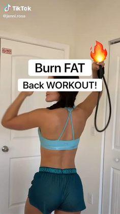 Back Fat Workout, Band Workout, Slim Waist Workout, Gym Workout Videos, Gym Workout For Beginners, Fitness Workout For Women, Fitness Goals, Workouts, Back Workout Challenge