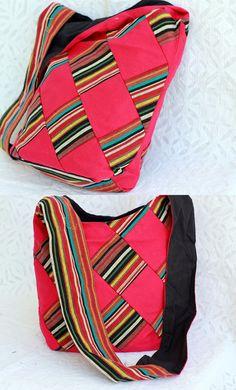 Smart and trendy patch work blended striped rug Jhol or shoulder bag