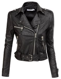 Doublju Motorcycle Jacket With Belt Strap BLACK (US-L) at Amazon Women's Clothing store: Faux Leather Outerwear Jackets