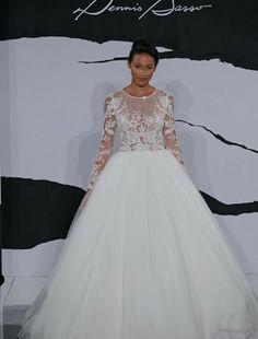 Bridal Gowns: Dennis Basso Princess/Ball Gown Wedding Dress with High Neck Neckline and Basque Waist Waistline