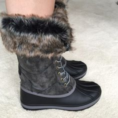 """Furry Winter Boots Waterproof bottom (made of rubber) these duck boots are comfy and warm!!!! Fit 1/2-1 size small.                                                      ❤️❤️Have many sizes just comment and I'll make a separate listing.                                                     ✔️Will look at offers through the """"offer"""" feature.                                                                         ✔️No trades. Shoes Winter & Rain Boots"""