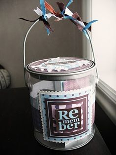 Earliest memory/best memory jar at reception next to guest book. Guests write down on a card and bride and groom can read the wonderful memories after the honeymoon.