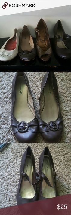 Size 13 womens shoes Slightly used, brown, Size 13 womens shoes all of them have a small 1-3 inch wedge or heel. Entire set! Shoes Heels